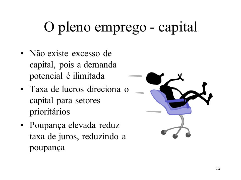 12 O pleno emprego - capital Não existe excesso de capital, pois a demanda potencial é ilimitada Taxa de lucros direciona o capital para setores prioritários Poupança elevada reduz taxa de juros, reduzindo a poupança