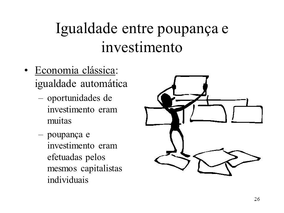 26 Igualdade entre poupança e investimento Economia clássica: igualdade automática –oportunidades de investimento eram muitas –poupança e investimento eram efetuadas pelos mesmos capitalistas individuais