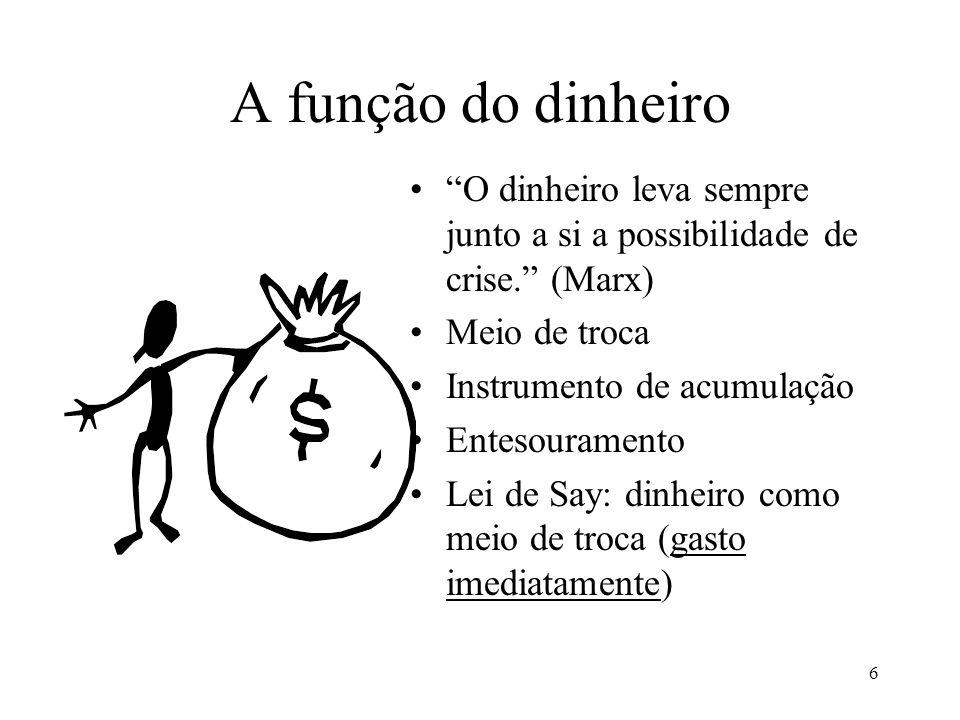 6 A função do dinheiro O dinheiro leva sempre junto a si a possibilidade de crise.