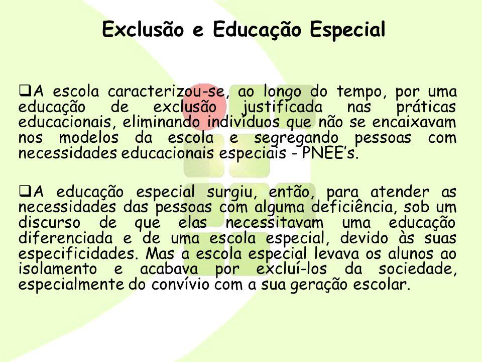Integração Num outro momento, surge a proposição de abrir a rede regular de ensino para o acesso dos PNEEs, proporcionando sua integração, em busca da igualdade, reintegração e da sua reabilitação.