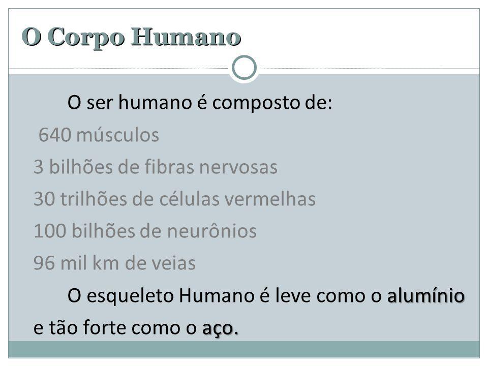 O Corpo Humano O ser humano é composto de: 640 músculos 3 bilhões de fibras nervosas 30 trilhões de células vermelhas 100 bilhões de neurônios 96 mil km de veias alumínio O esqueleto Humano é leve como o alumínio aço.