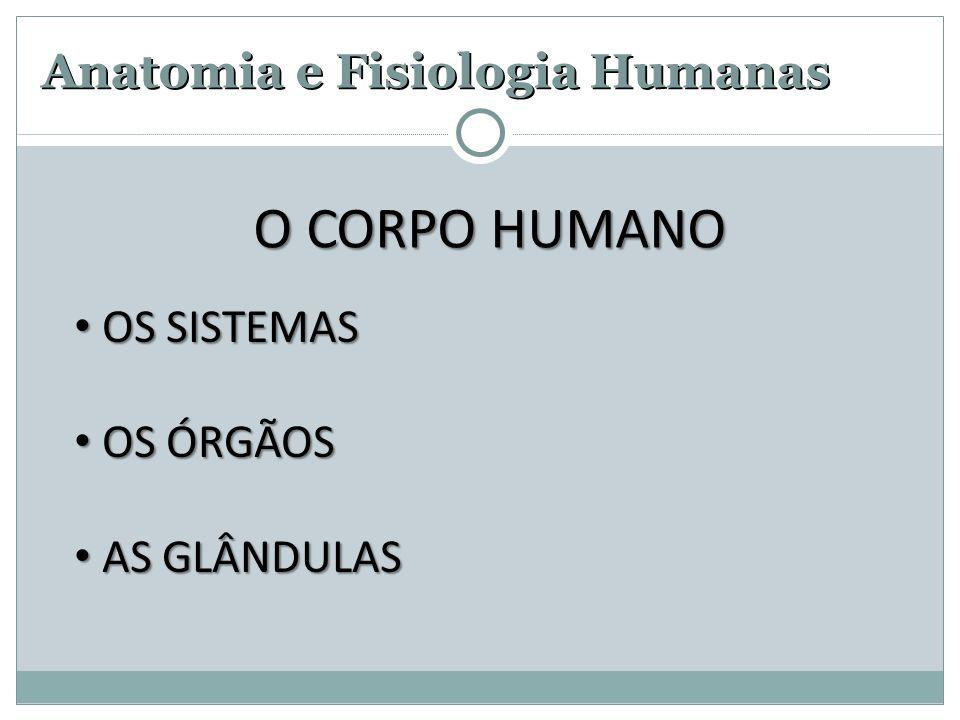 Anatomia e Fisiologia Humanas OS SISTEMAS OS SISTEMAS OS ÓRGÃOS OS ÓRGÃOS AS GLÂNDULAS AS GLÂNDULAS O CORPO HUMANO
