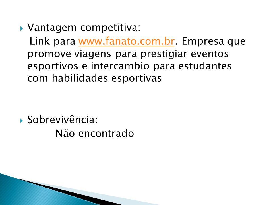 Vantagem competitiva: Link para www.fanato.com.br. Empresa que promove viagens para prestigiar eventos esportivos e intercambio para estudantes com ha