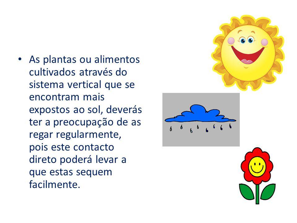 As plantas ou alimentos cultivados através do sistema vertical que se encontram mais expostos ao sol, deverás ter a preocupação de as regar regularmen