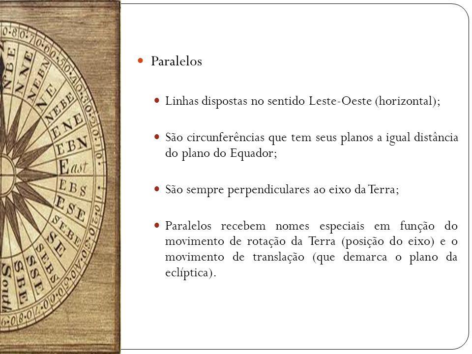 Paralelos Linhas dispostas no sentido Leste-Oeste (horizontal); São circunferências que tem seus planos a igual distância do plano do Equador; São sem