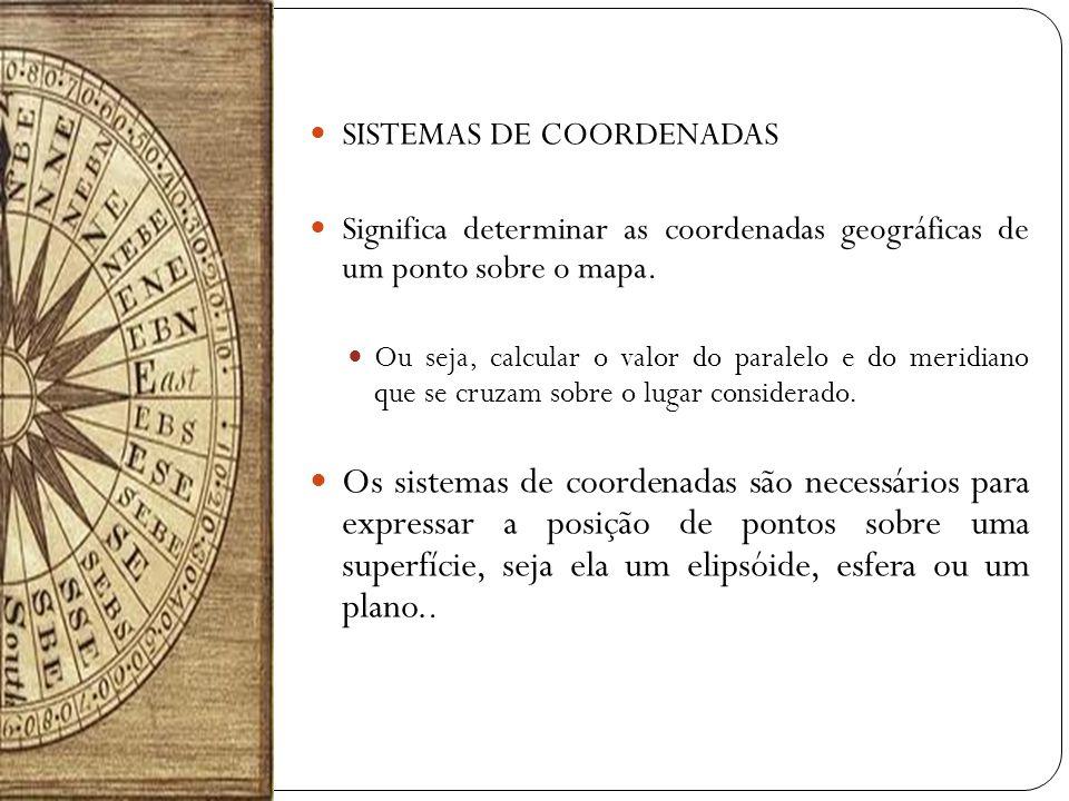 SISTEMAS DE COORDENADAS Significa determinar as coordenadas geográficas de um ponto sobre o mapa. Ou seja, calcular o valor do paralelo e do meridiano