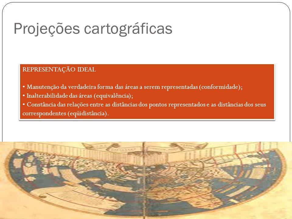 Projeções cartográficas REPRESENTAÇÃO IDEAL Manutenção da verdadeira forma das áreas a serem representadas (conformidade); Inalterabilidade das áreas