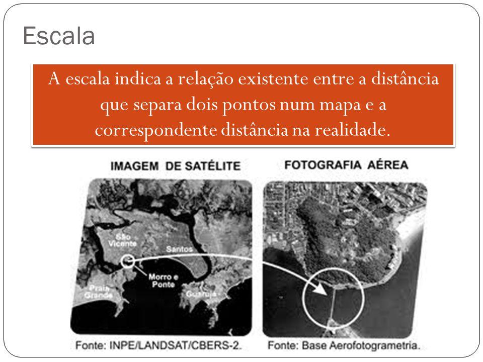 Escala A escala indica a relação existente entre a distância que separa dois pontos num mapa e a correspondente distância na realidade.
