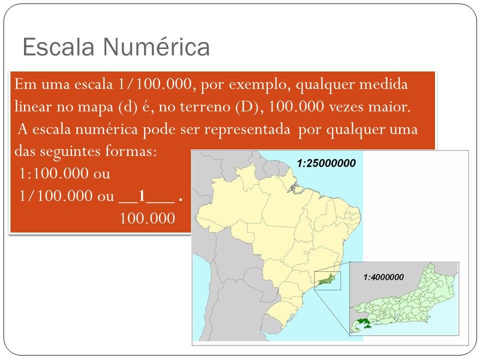 Escala Numérica Em uma escala 1/100.000, por exemplo, qualquer medida linear no mapa (d) é, no terreno (D), 100.000 vezes maior. A escala numérica pod