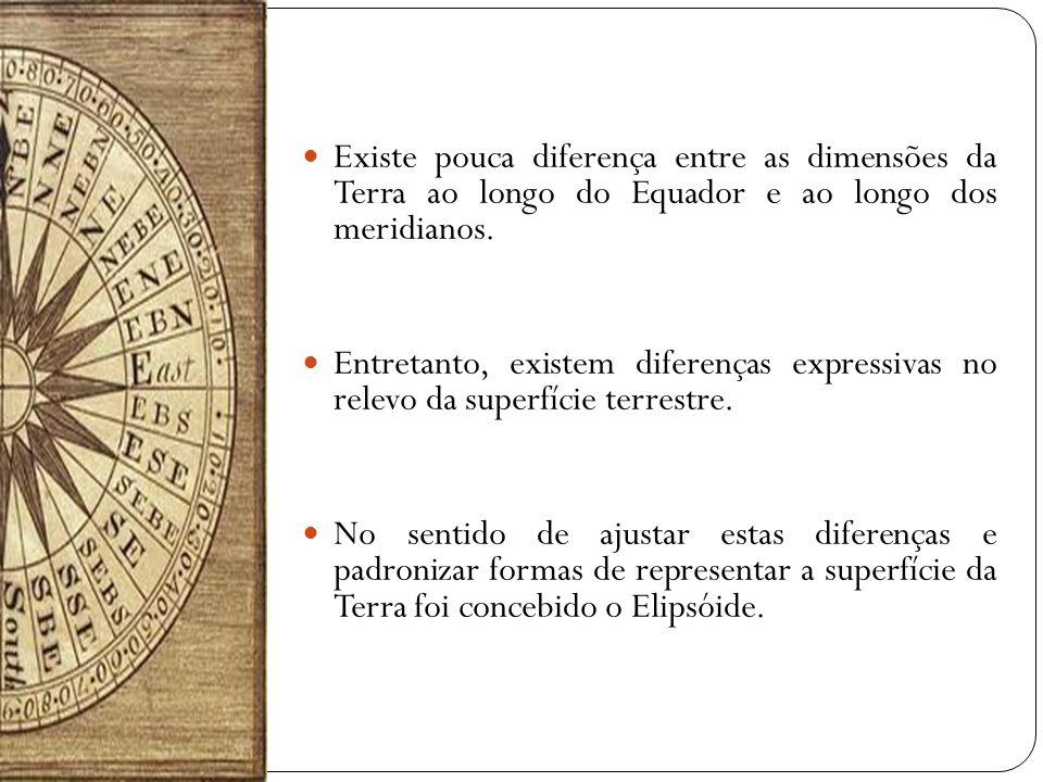 Existe pouca diferença entre as dimensões da Terra ao longo do Equador e ao longo dos meridianos. Entretanto, existem diferenças expressivas no relevo