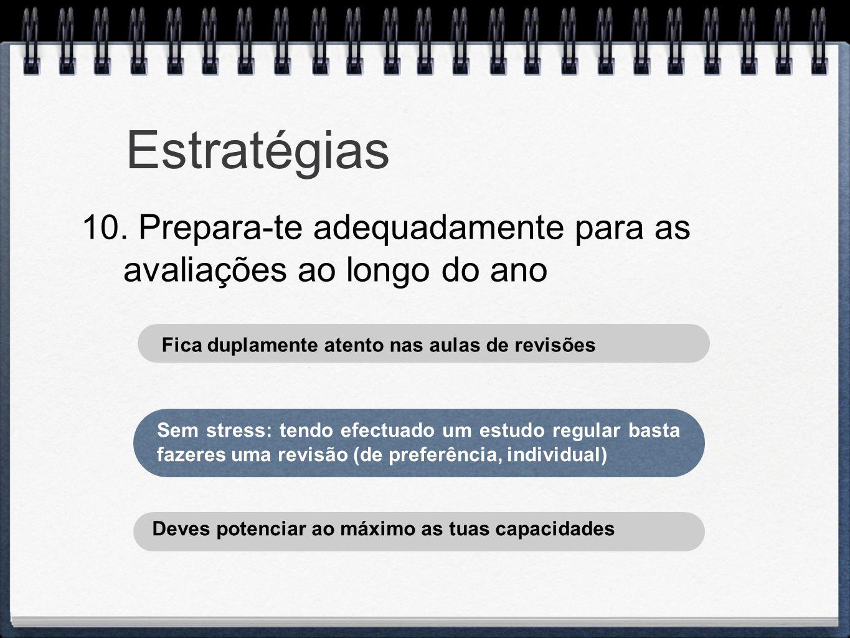 Estratégias 10. Prepara-te adequadamente para as avaliações ao longo do ano Sem stress: tendo efectuado um estudo regular basta fazeres uma revisão (d