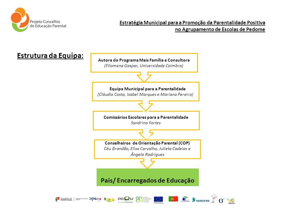Estratégia Municipal para a Promoção da Parentalidade Positiva no Agrupamento de Escolas de Pedome Estrutura da Equipa: kjiEquipa Municipal para a Par