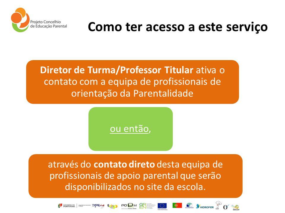 Como ter acesso a este serviço Diretor de Turma/Professor Titular ativa o contato com a equipa de profissionais de orientação da Parentalidade ou entã