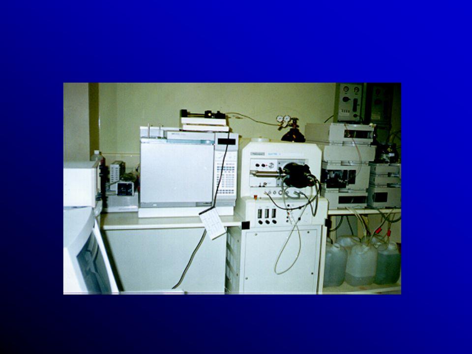 Métodos Químicos: Cromatografia (CG, HPLC) e uma variedade de processos utilizando métodos de espectrometria de massa (MS) tais como MS- MS e combinaç
