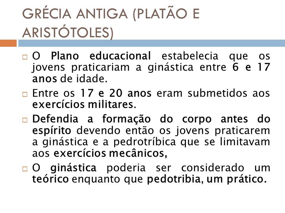 GRÉCIA ANTIGA (PLATÃO E ARISTÓTOLES) O Plano educacional estabelecia que os jovens praticariam a ginástica entre 6 e 17 anos de idade.