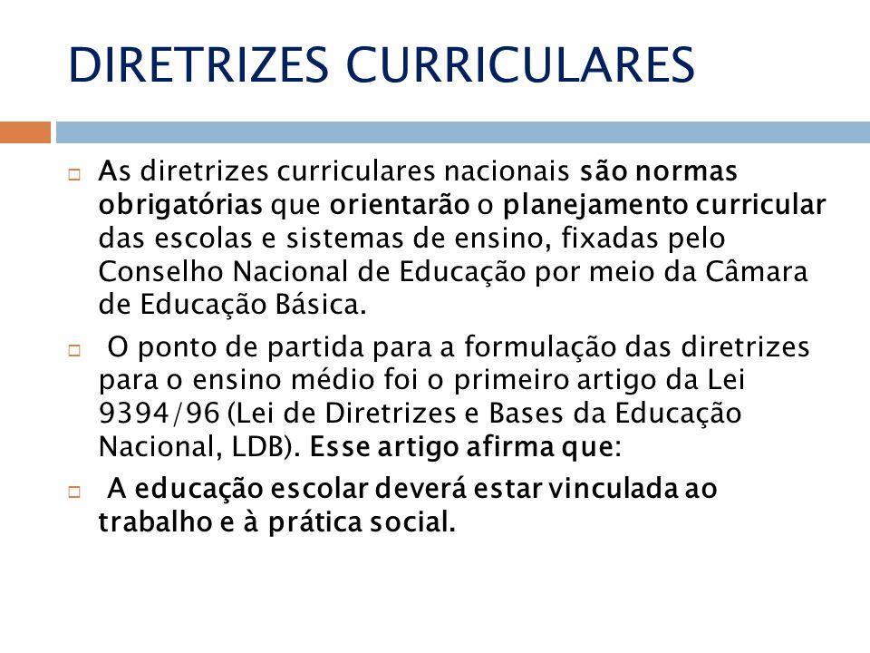 DIRETRIZES CURRICULARES As diretrizes curriculares nacionais são normas obrigatórias que orientarão o planejamento curricular das escolas e sistemas de ensino, fixadas pelo Conselho Nacional de Educação por meio da Câmara de Educação Básica.