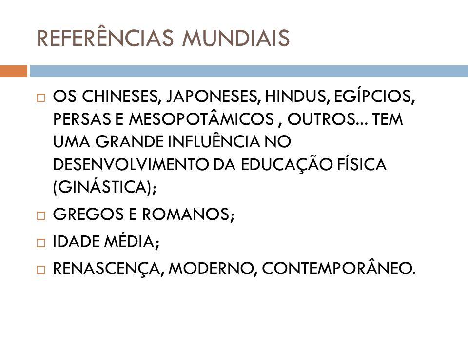 REFERÊNCIAS MUNDIAIS OS CHINESES, JAPONESES, HINDUS, EGÍPCIOS, PERSAS E MESOPOTÂMICOS, OUTROS...