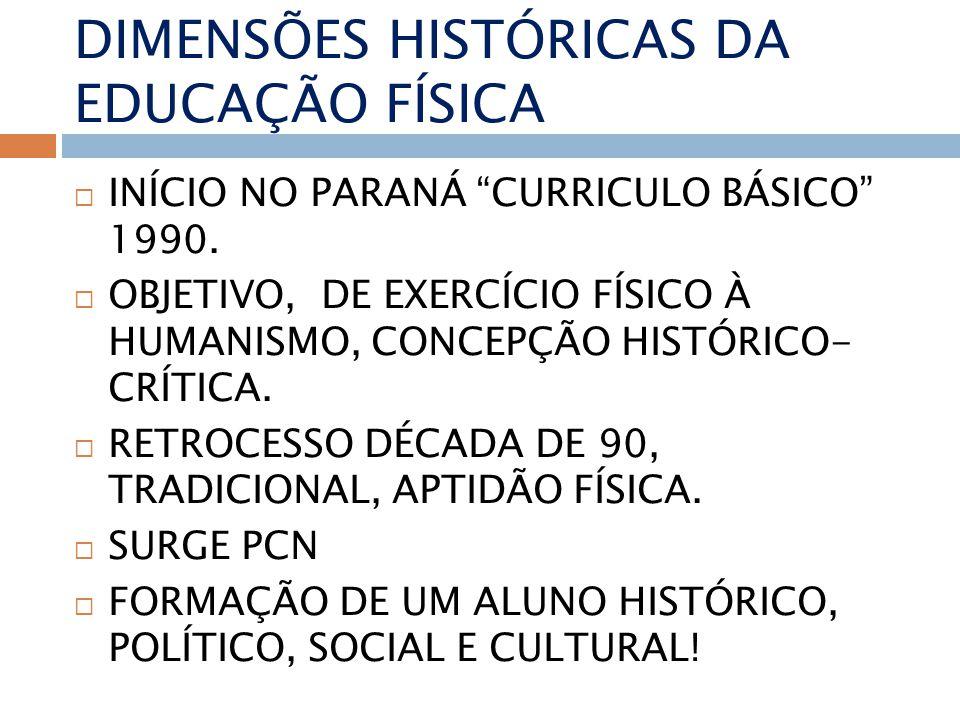 DIMENSÕES HISTÓRICAS DA EDUCAÇÃO FÍSICA INÍCIO NO PARANÁ CURRICULO BÁSICO 1990.