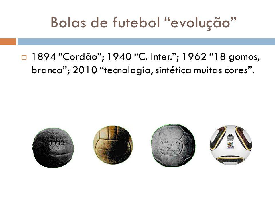 Bolas de futebol evolução 1894 Cordão; 1940 C.