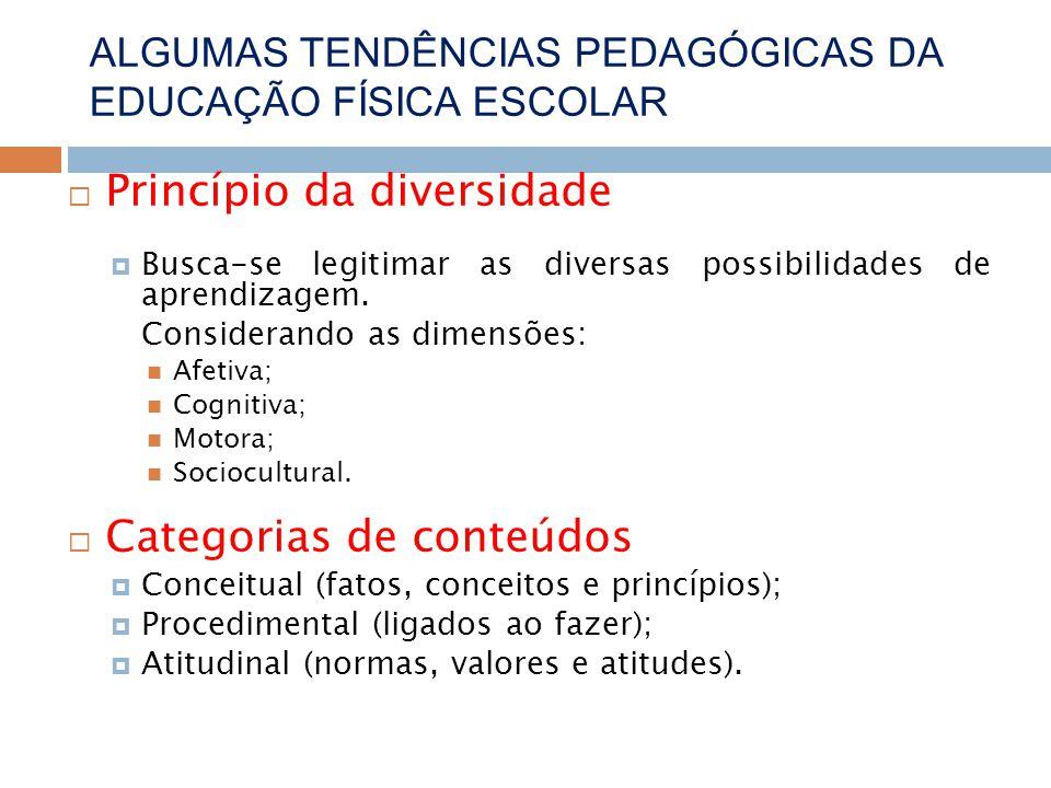Princípio da diversidade Busca-se legitimar as diversas possibilidades de aprendizagem.