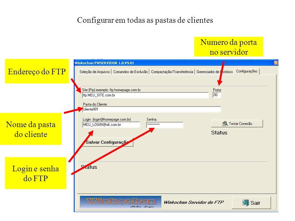 Endereço do FTP Configurar em todas as pastas de clientes Numero da porta no servidor Nome da pasta do cliente Login e senha do FTP