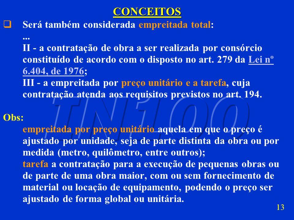 12CONCEITOS Será também considerada empreitada total: I - o repasse integral do contrato; Obs: repasse integral, é o ato pelo qual a construtora origi