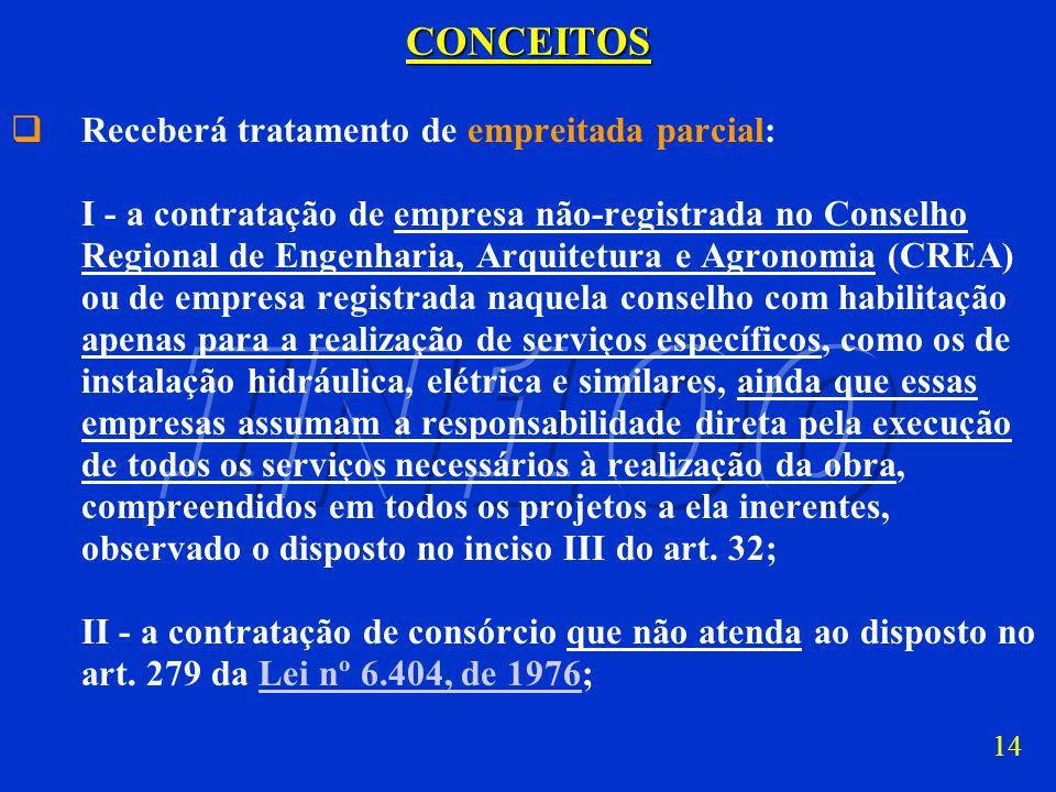 13CONCEITOS Será também considerada empreitada total:... II - a contratação de obra a ser realizada por consórcio constituído de acordo com o disposto