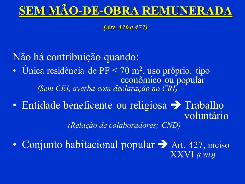 Serviço de Construção Civil e Reforma de Pequeno Valor Dispensado de Matrícula CEI Retenção Obrigatória (Regra Geral) Exceções: Art. 157