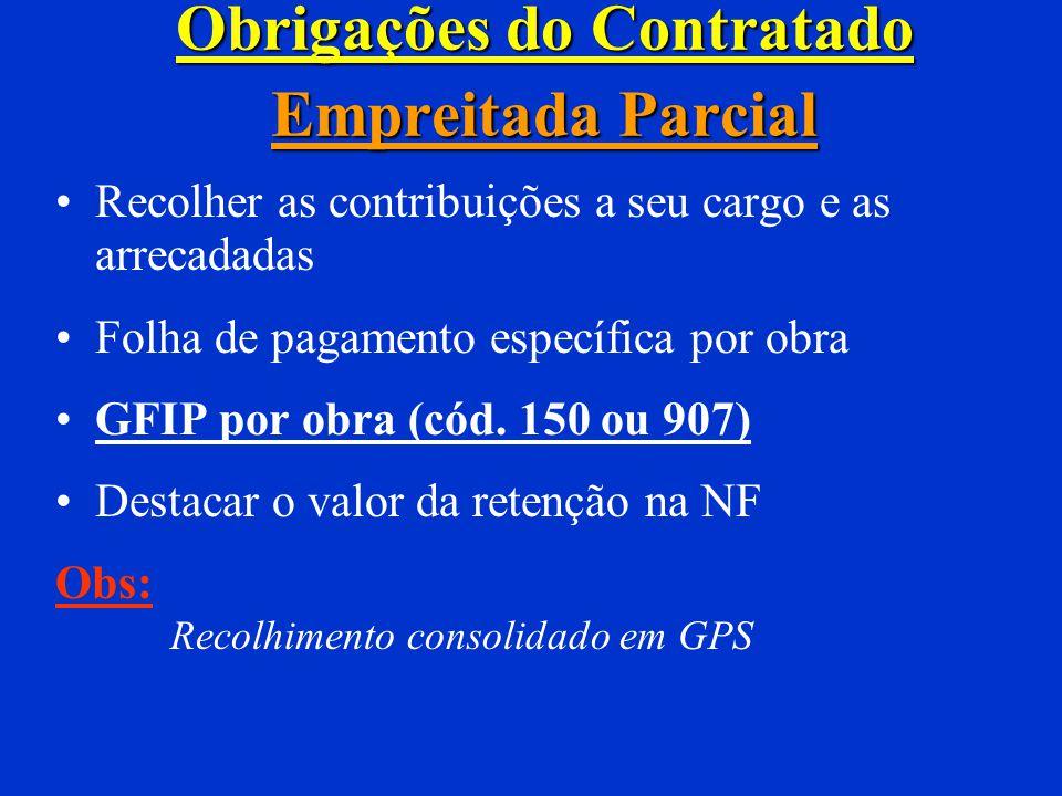 Obrigações dos Responsáveis Empreitada total Recolher as contribuições a seu cargo e as arrecadadas 15% sobre NF de cooperativa GFIP (cód. 155 ou 908)