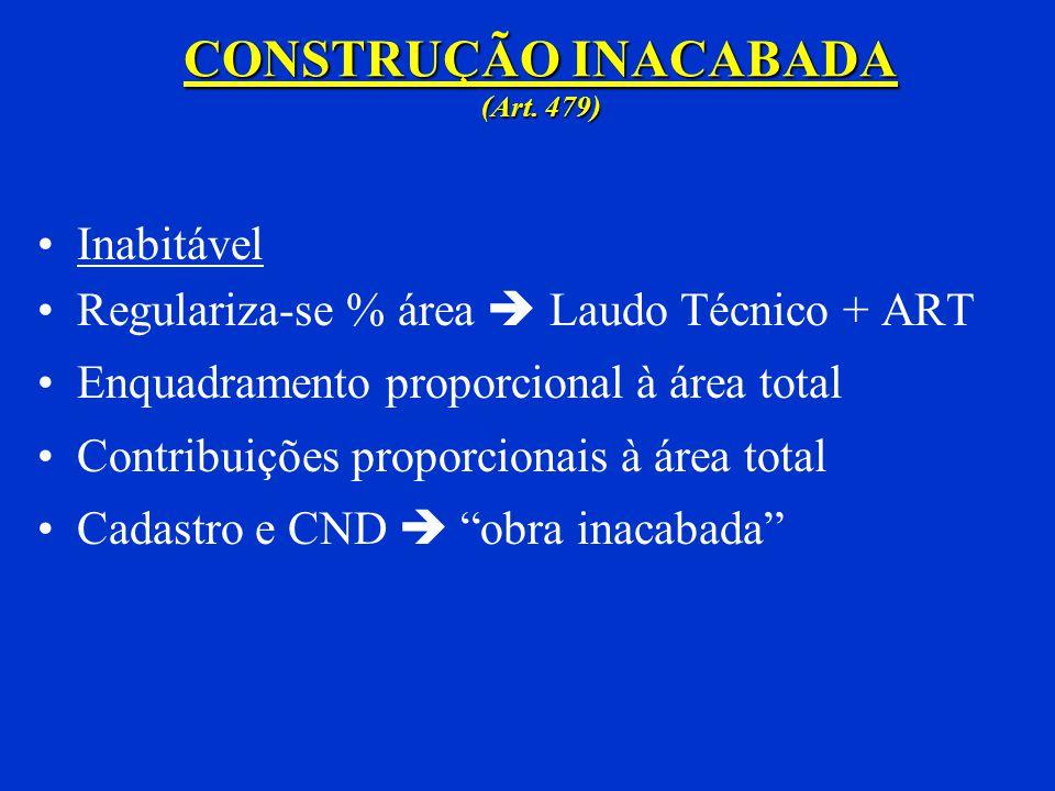 CONSTRUÇÃO PARCIAL (Art. 478) Habitável Regulariza-se a área do habite-se parcial Contribuições proporcionais à área total Regularizações subseqüentes