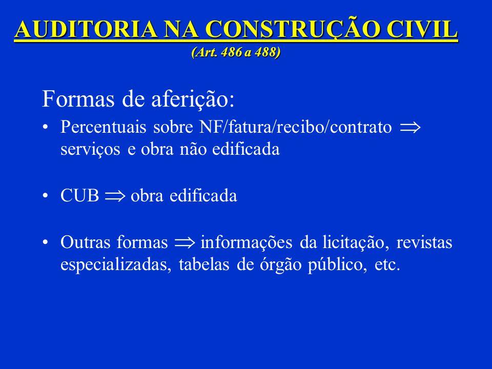 Auditoria na Construção Civil Pessoa jurídica Contabilidade OU Aferição indireta: 1) quando a empresa estiver desobrigada da apresentação de escritura