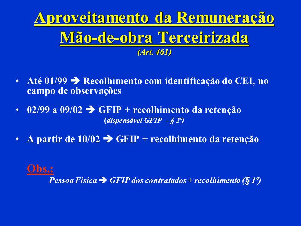 Aproveitamento da Remuneração Até 12/98 Recolhimento no CEI A partir de 01/99 Recolhimento + GFIP Pessoa física Recolhimento no CEI Mão-de-obra Própri