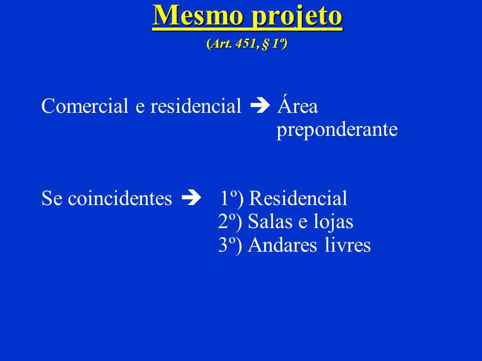 Tabelas ( Art. 451) RESIDENCIAL –Hotel, motel, spa,hospital... COMERCIAL – ANDARES LIVRES –Posto de gasolina com outras instalações... COMERCIAL –SALA