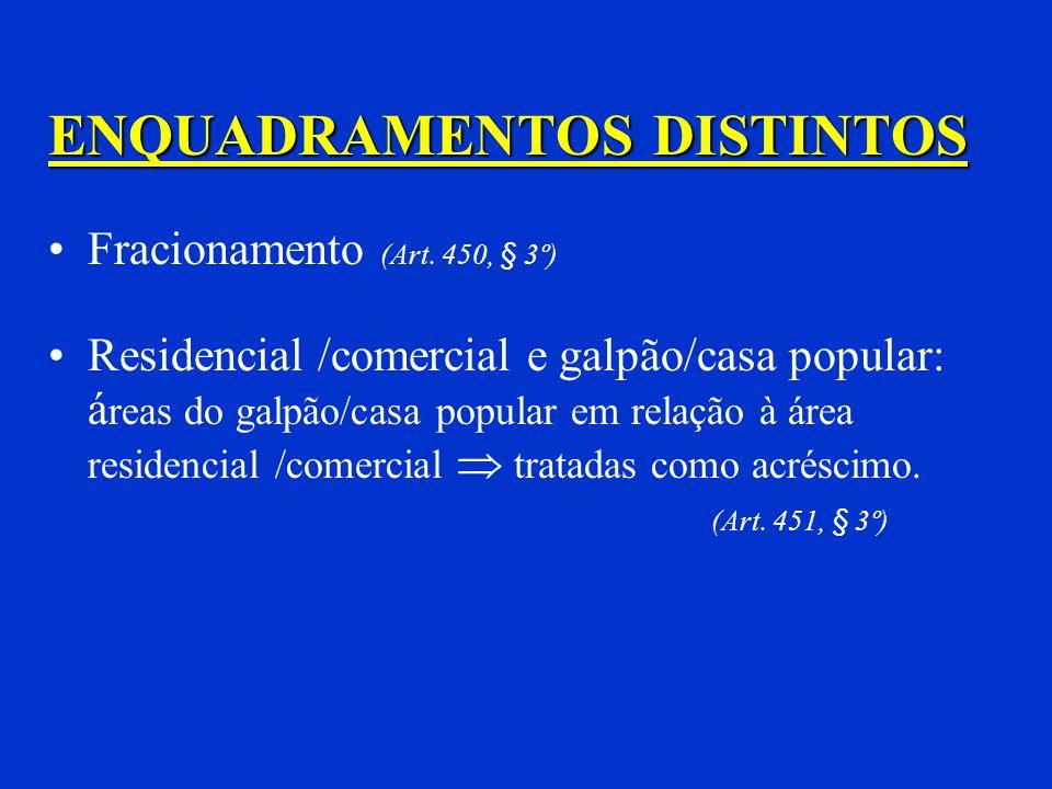 Mesmo projeto (Art. 451, § 1º) Comercial e residencial Área preponderante Se coincidentes 1º) Residencial 2º) Salas e lojas 3º) Andares livres