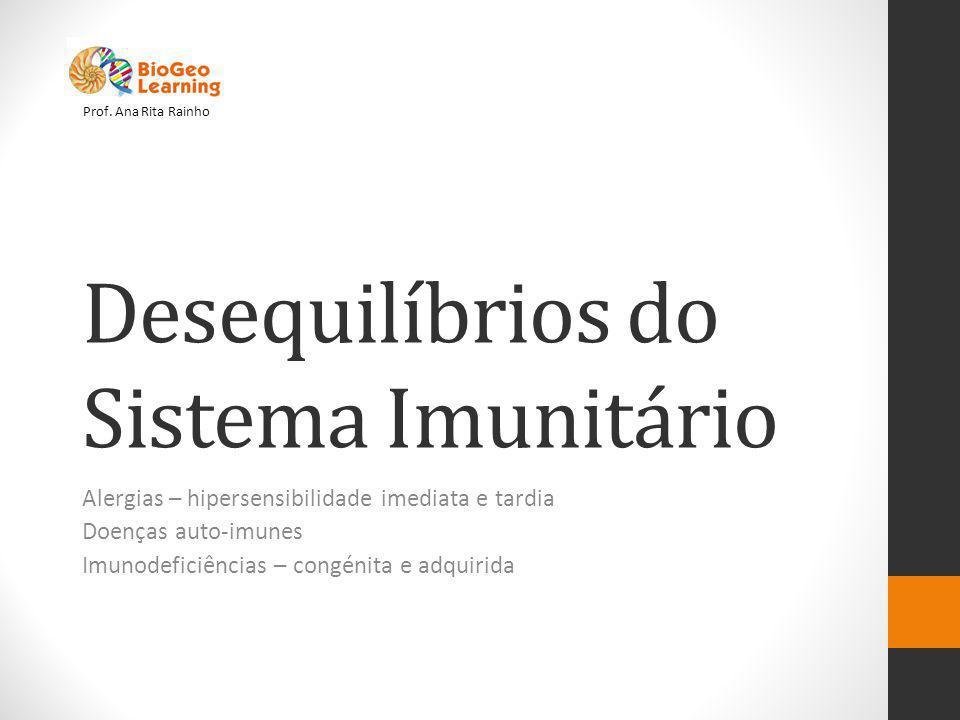 Desequilíbrios do Sistema Imunitário Alergias – hipersensibilidade imediata e tardia Doenças auto-imunes Imunodeficiências – congénita e adquirida Prof.