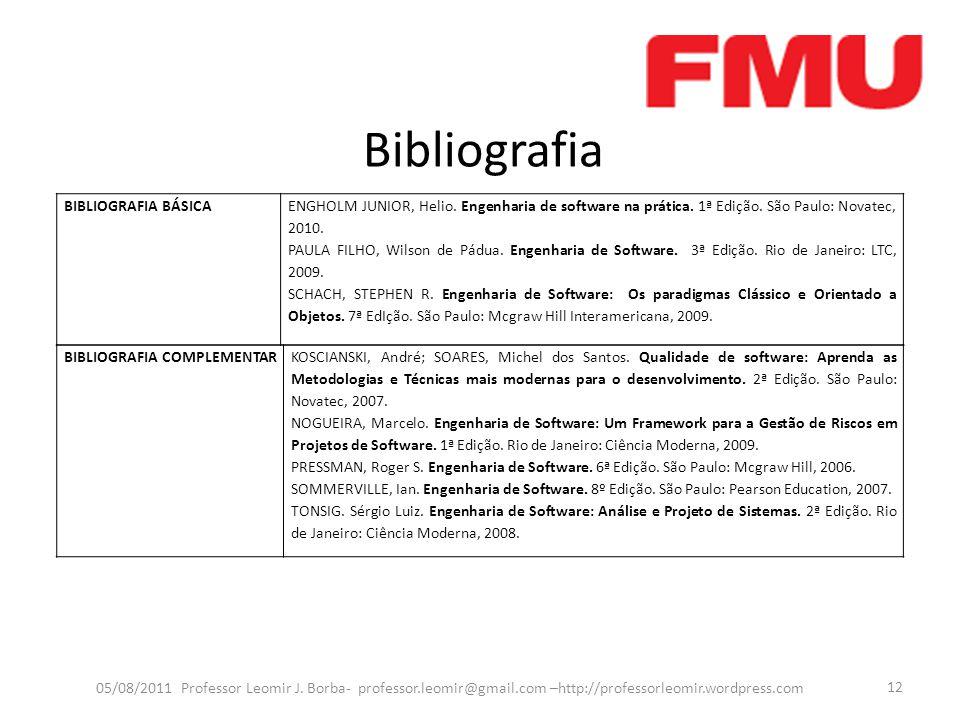 Bibliografia 05/08/2011 Professor Leomir J. Borba- professor.leomir@gmail.com –http://professorleomir.wordpress.com 12 BIBLIOGRAFIA BÁSICAENGHOLM JUNI