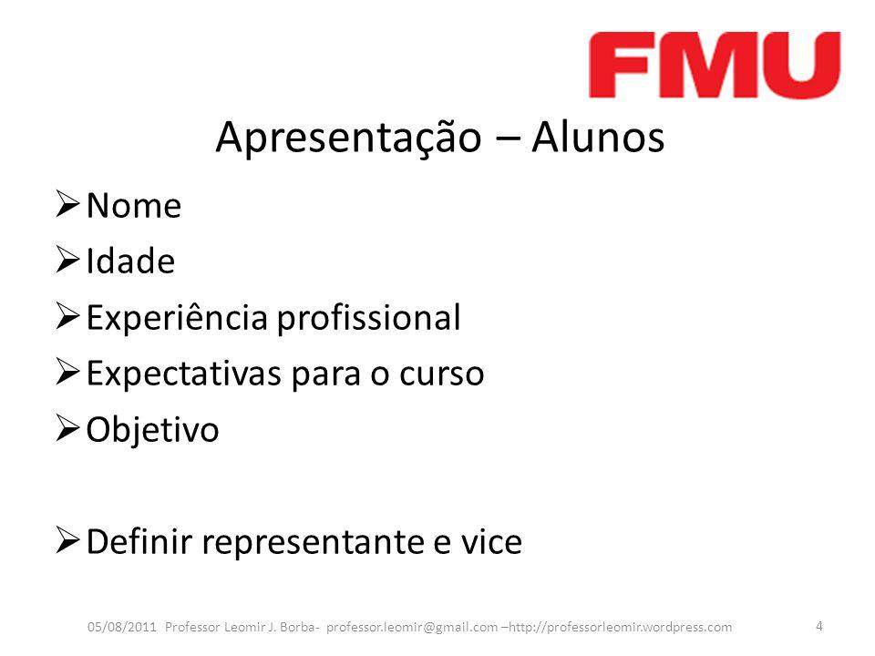 Apresentação – Alunos Nome Idade Experiência profissional Expectativas para o curso Objetivo Definir representante e vice 05/08/2011 Professor Leomir