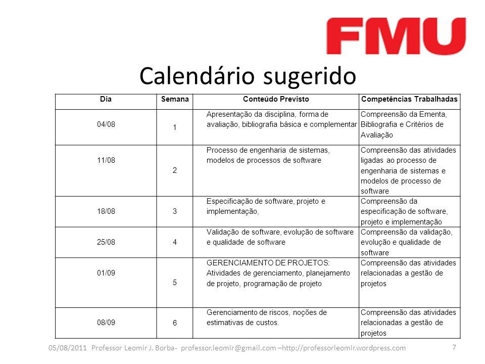 Calendário sugerido 05/08/2011 Professor Leomir J. Borba- professor.leomir@gmail.com –http://professorleomir.wordpress.com 7 DiaSemanaConteúdo Previst