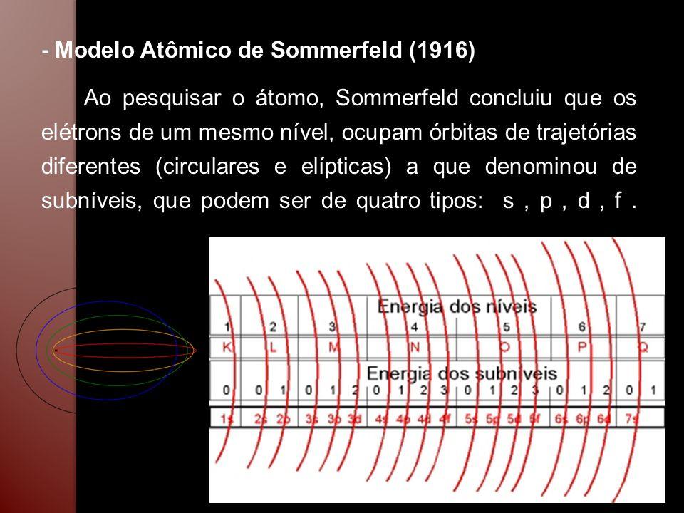 - Modelo Atômico de Sommerfeld (1916) Ao pesquisar o átomo, Sommerfeld concluiu que os elétrons de um mesmo nível, ocupam órbitas de trajetórias difer