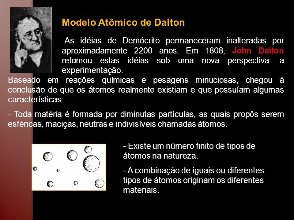 Modelo Atômico de Dalton As idéias de Demócrito permaneceram inalteradas por aproximadamente 2200 anos. Em 1808, John Dalton retomou estas idéias sob