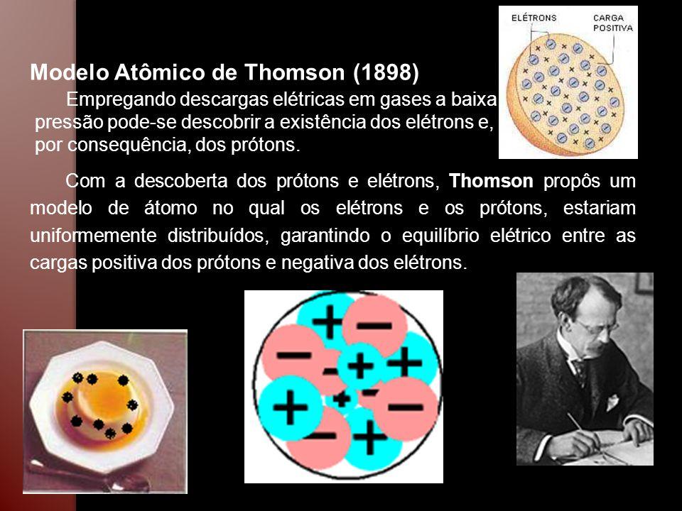 Modelo Atômico de Thomson (1898) Empregando descargas elétricas em gases a baixa pressão pode-se descobrir a existência dos elétrons e, por consequênc