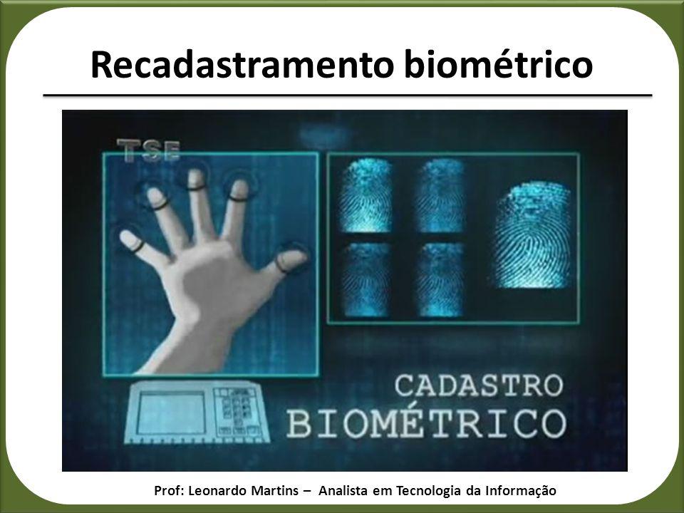 Recadastramento biométrico Prof: Leonardo Martins – Analista em Tecnologia da Informação