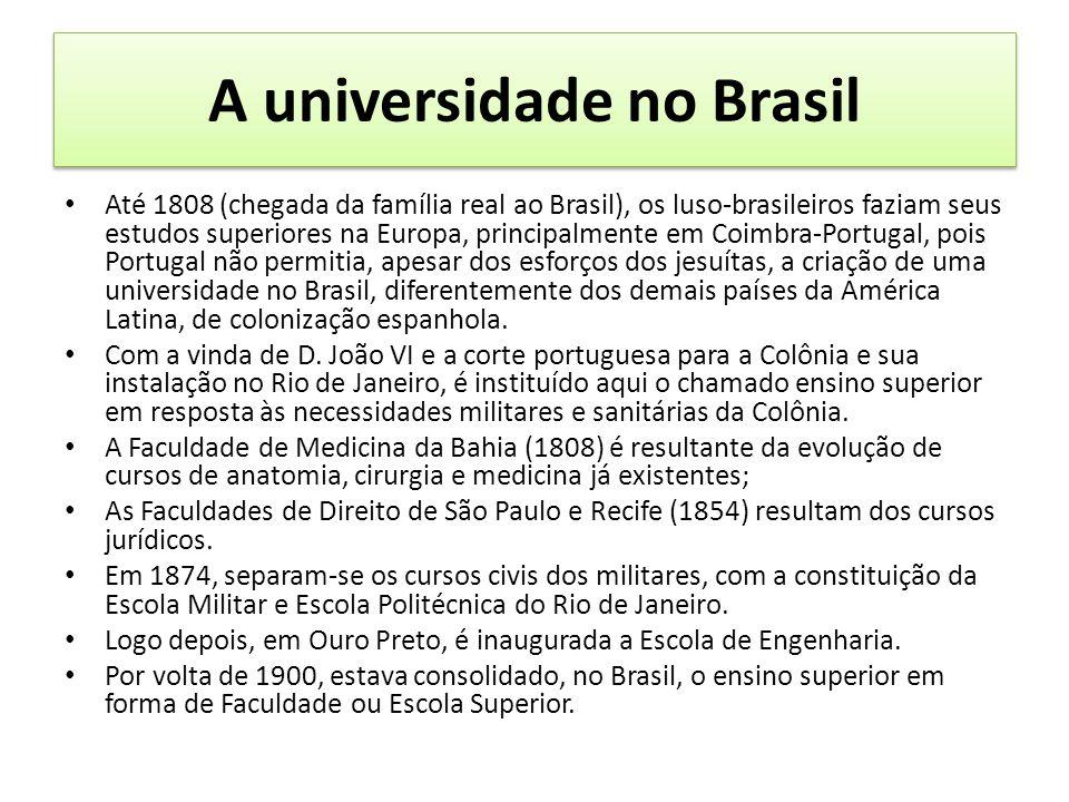 A universidade no Brasil Até 1808 (chegada da família real ao Brasil), os luso-brasileiros faziam seus estudos superiores na Europa, principalmente em Coimbra-Portugal, pois Portugal não permitia, apesar dos esforços dos jesuítas, a criação de uma universidade no Brasil, diferentemente dos demais países da América Latina, de colonização espanhola.
