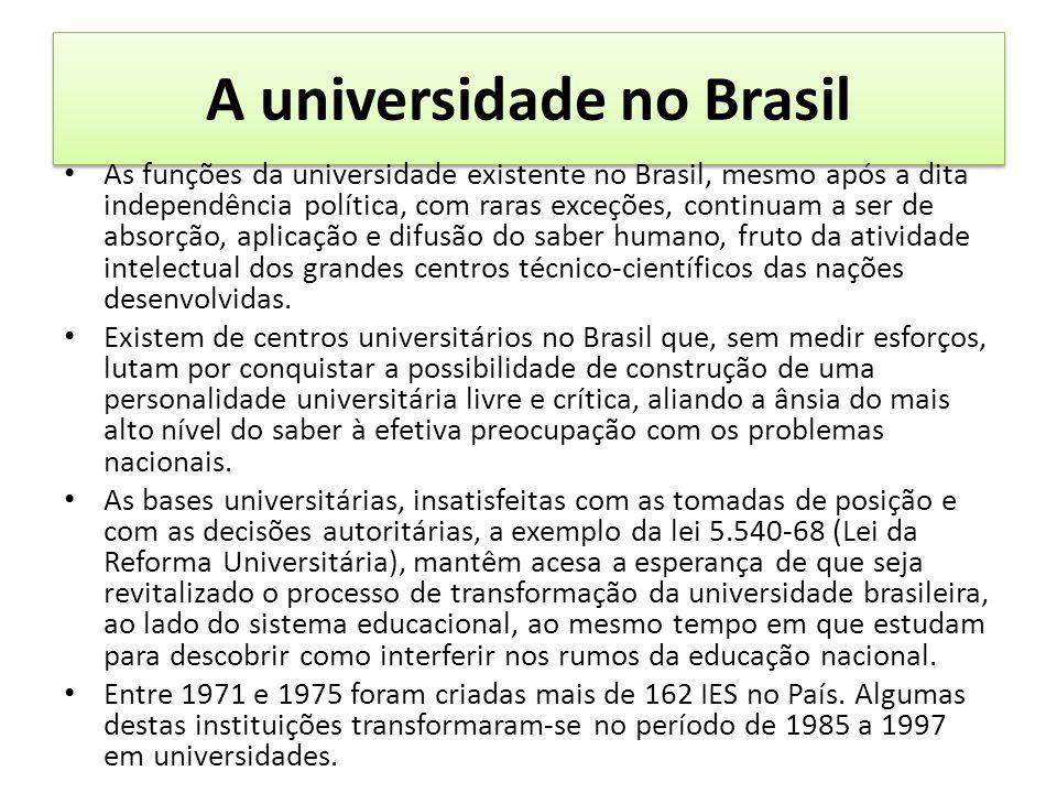 A universidade no Brasil As funções da universidade existente no Brasil, mesmo após a dita independência política, com raras exceções, continuam a ser de absorção, aplicação e difusão do saber humano, fruto da atividade intelectual dos grandes centros técnico-científicos das nações desenvolvidas.