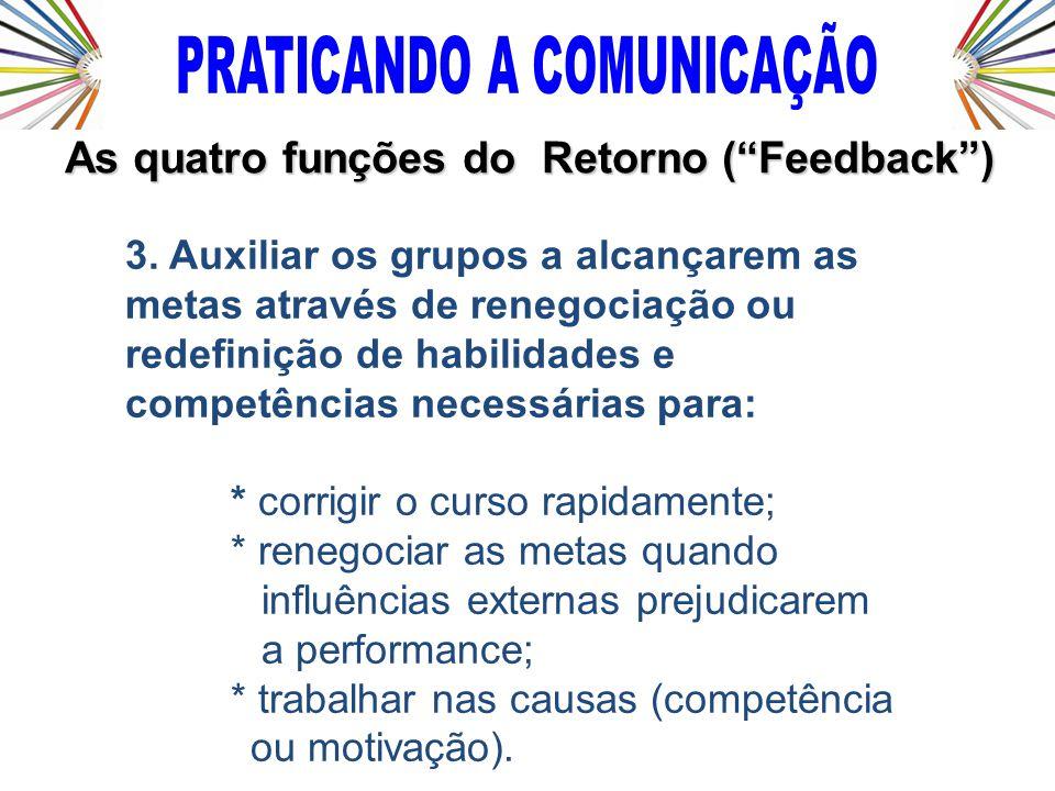 3. Auxiliar os grupos a alcançarem as metas através de renegociação ou redefinição de habilidades e competências necessárias para: * corrigir o curso