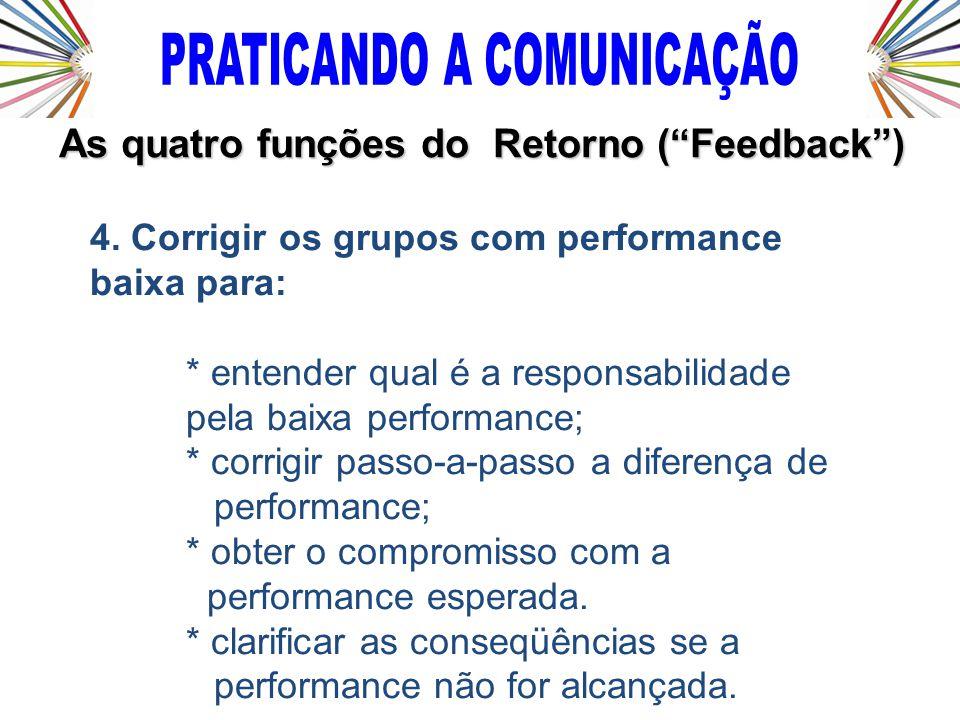 4. Corrigir os grupos com performance baixa para: * entender qual é a responsabilidade pela baixa performance; * corrigir passo-a-passo a diferença de