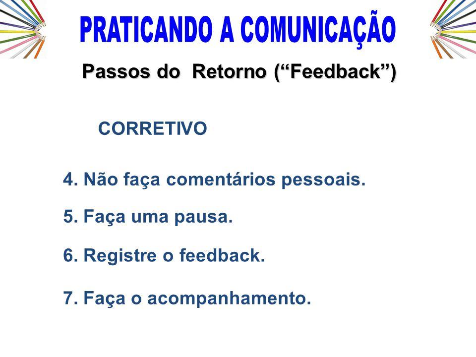 4. Não faça comentários pessoais. 5. Faça uma pausa. 6. Registre o feedback. 7. Faça o acompanhamento. CORRETIVO Passos do Retorno (Feedback)