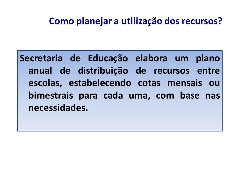 Como planejar a utilização dos recursos? Secretaria de Educação elabora um plano anual de distribuição de recursos entre escolas, estabelecendo cotas