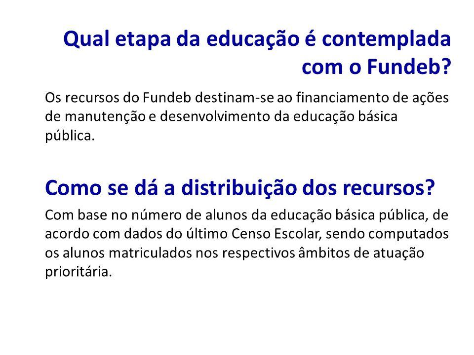 Os recursos do Fundeb destinam-se ao financiamento de ações de manutenção e desenvolvimento da educação básica pública. Como se dá a distribuição dos