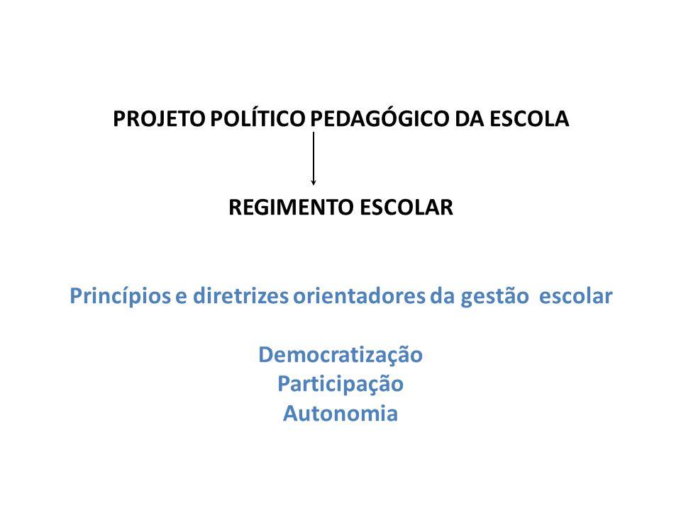PROJETO POLÍTICO PEDAGÓGICO DA ESCOLA REGIMENTO ESCOLAR Princípios e diretrizes orientadores da gestão escolar Democratização Participação Autonomia